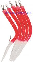 Trubičky RF 12/0 červené s fosforovým ocáskem 5 ks, úhořík - zvětšit obrázek
