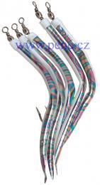 Trubičky M 8/0 duhové s fosforovým ocáskem 5 ks, úhořík - zvětšit obrázek