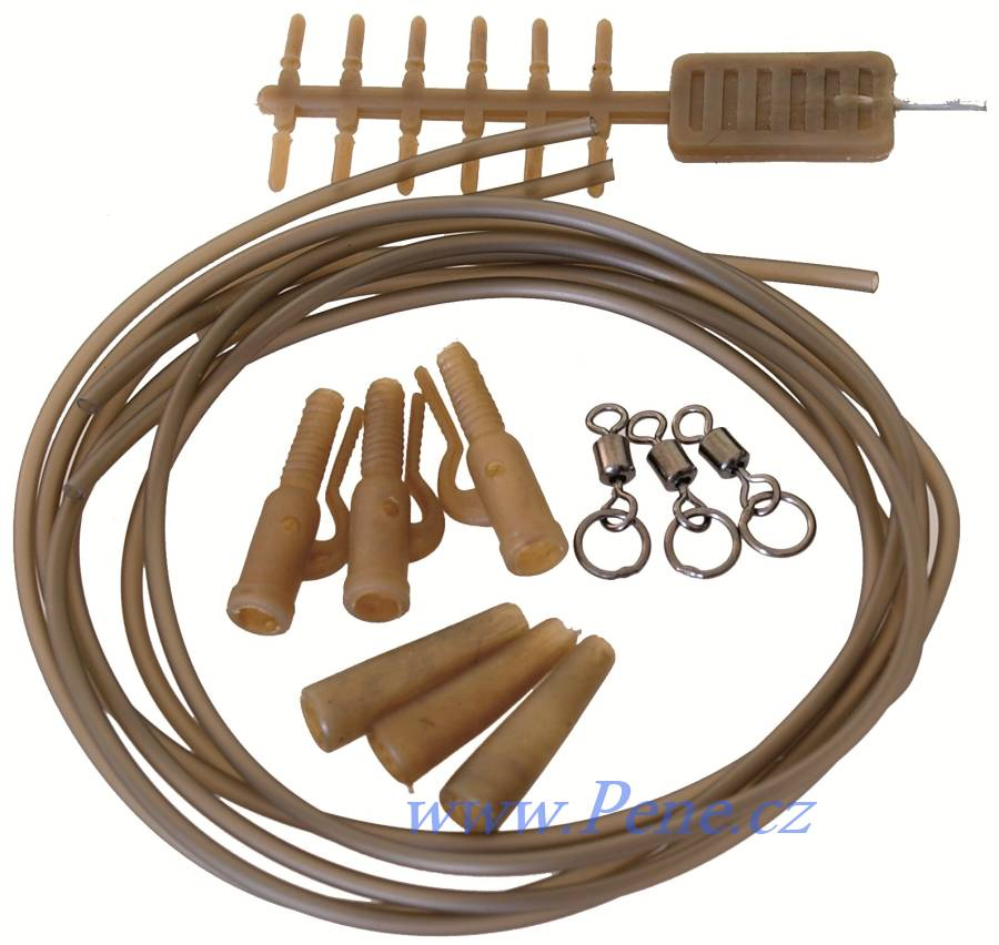 Carp System Camo Set 1 Závěs na zátěž s bužírkou a obratlíkem s kroužkem