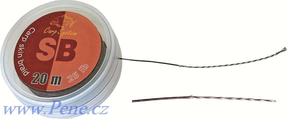Carp System Návazcová šňůrka SB 20m potažená šňůra 15 a 25 Lbs