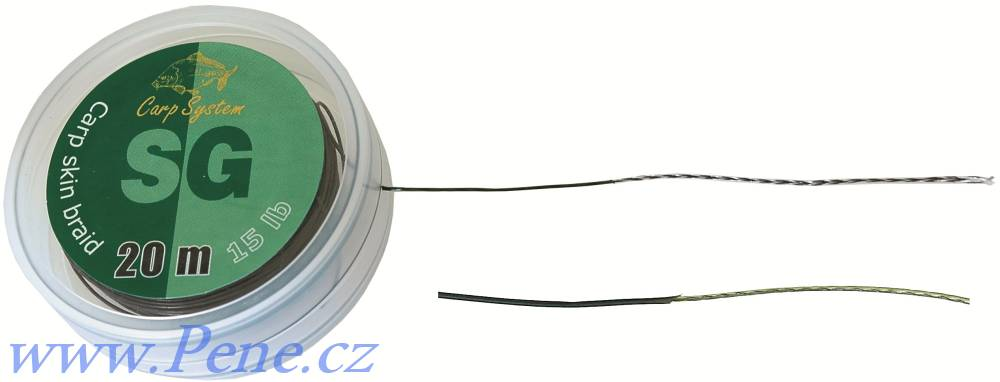 Carp System Návazcová šňůrka SG 20m potažená šňůra 15 a 25 Lbs