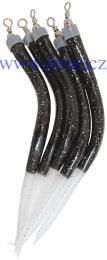 Trubičky BF 8/0 černé s fosforovým ocáskem 5 ks, úhořík - zvětšit obrázek