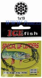 Rybáøské lanko s karabinkou a obratlíkem 20cm ICE fish 3ks WF