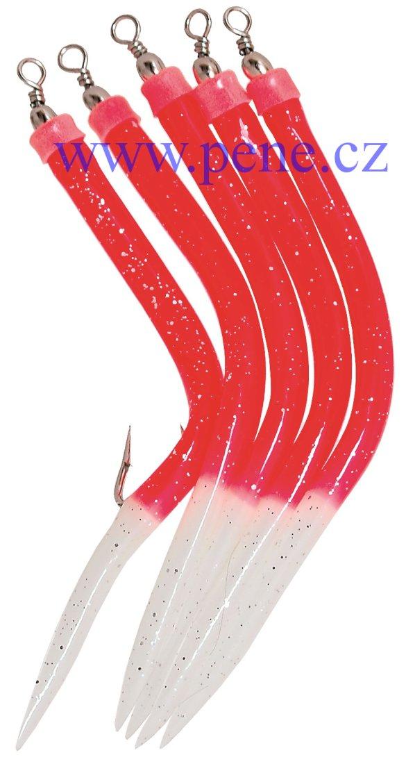 Trubièky RF 4/0 èervené s fosforovým ocáskem 5 ks, úhoøík - zvìtšit obrázek