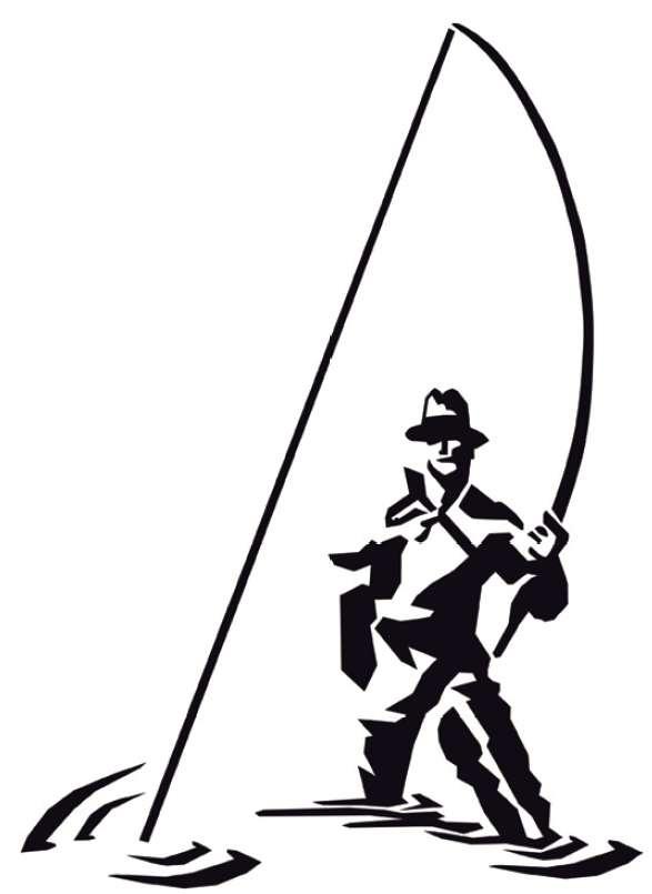 Rybáøská samolepka rybáø 2 20cm støíbrná - zvìtšit obrázek